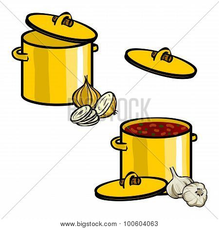 Cooking - Set Of Pans And Frying Pans. Hand Dawn. Vector Illustration.