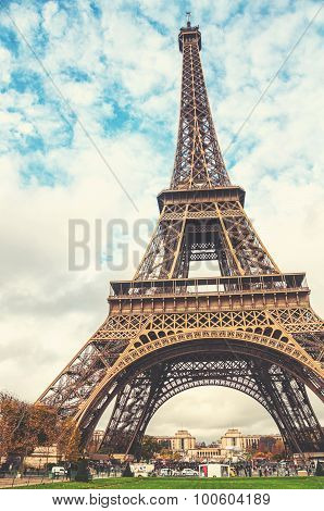 Eiffel Tower With Cloudy Sky In Paris, France