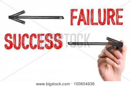 Hand with marker writing the word Failure Success