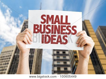 Small Business Ideas placard with cityscape background