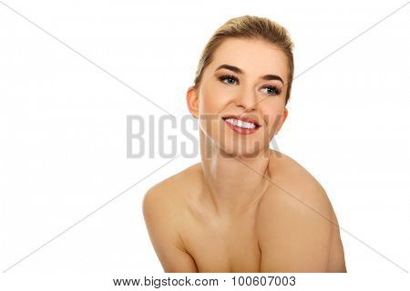 Young naked beautiful woman,isolated on white.