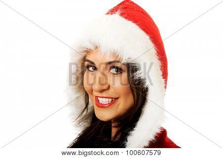 Happy santa woman smiling to camera.