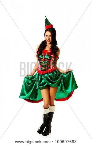 Beautiful slim woman wearing elf clothes