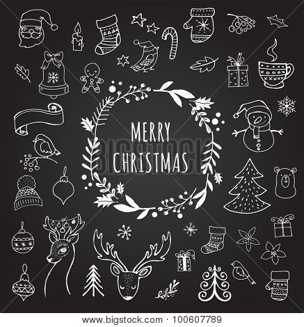 Merry Christmas - Doodle Xmas symbols, hand drawn illustrations, sketches on the Chalkboard, Blackboard