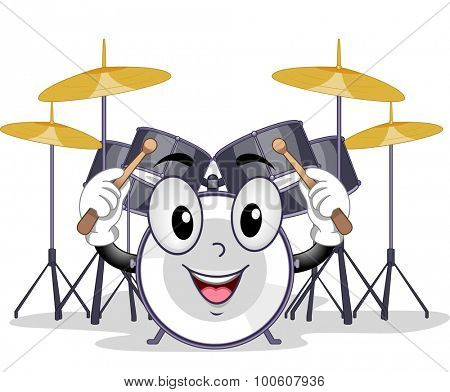 Mascot Illustration of a Drum Holding a Pair of Drum Sticks