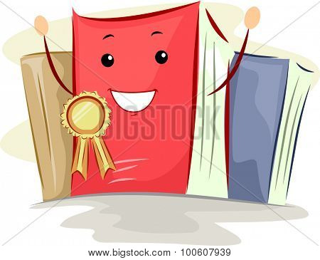 Mascot Illustration of a Book Awarded with a Bestseller Ribbon