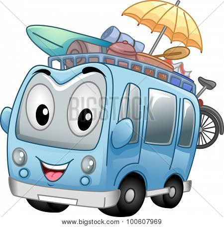 Mascot Illustration of a Tour Bus Headed for the Beach