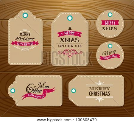 Christmas Sale, Gift Tags and labels with lettering, typography