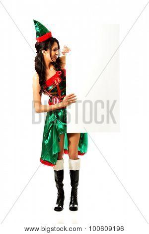 Elf woman holding white banner.