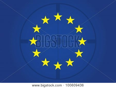 Flag of Europe Sight illustration. under the gun