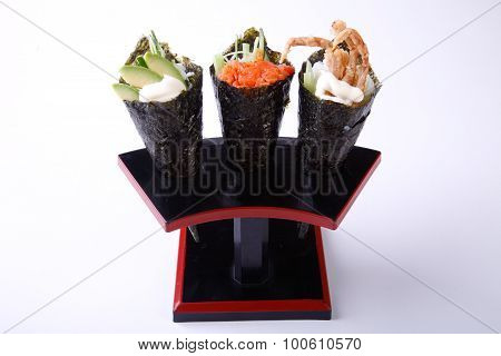 Temaki Sushi, Avocado Spicy Salmon And Soft Shell Crab Isolated On Whote Background