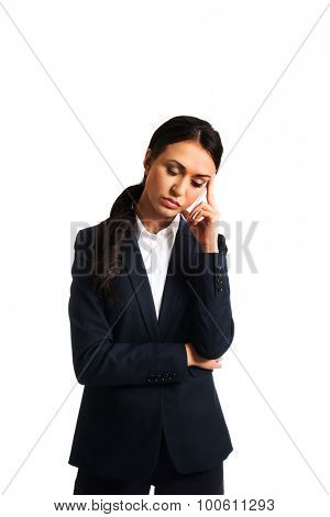 Worried businesswoman tired because of troubles.