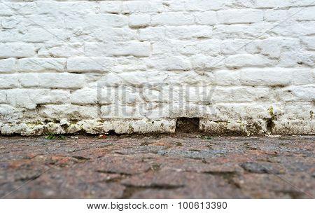 Empty Grunge Brick Wall And Pavement