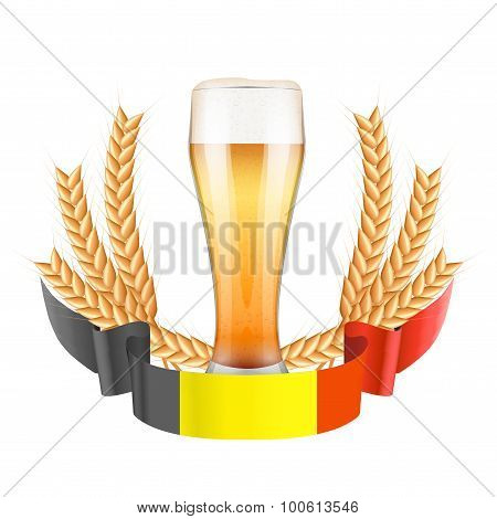 Brewery Label with light beer glass and ribbon