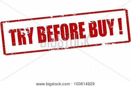 Rubber stamp with text try before buy inside vector illustration