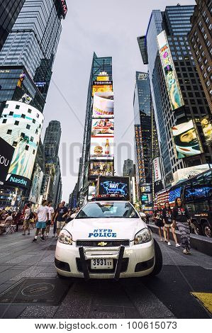 NEW YORK CITY - JULY 10: NYPD Police car in NYC on July 10 2015. The New York City Police Department (NYPD) established in 1845 is the largest municipal police force in the United States.