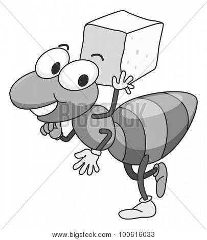 Little ant carrying cube of sugar on the back