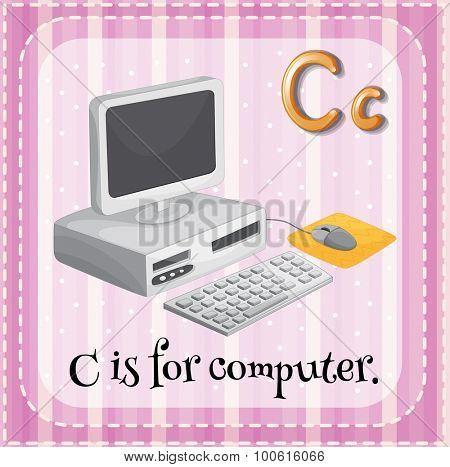 Letter C is for computer illustration