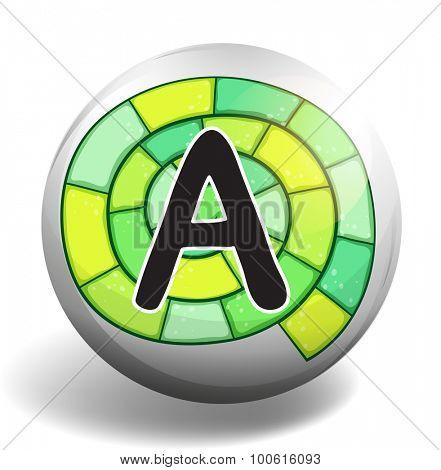 Alphabet A on round badge