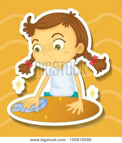 Little girl cleaning the table illustration