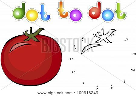 Big And Juicy Tomatoes. Educational Game For Kids: Connect Numbers Dot To Dot And Get Ready Image