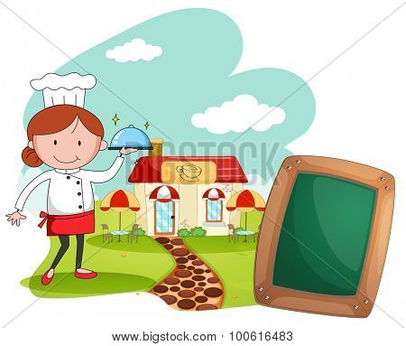 Female chef working at the restaurant