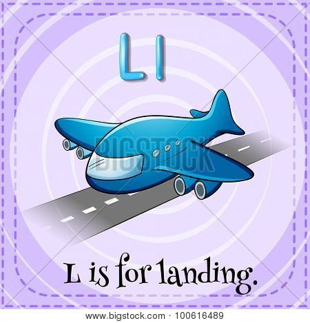 Flashcard letter L is for landing