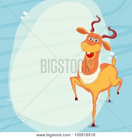 Funny goat on stylish blue background for Islamic Festival of Sacrifice, Eid-Al-Adha celebration.