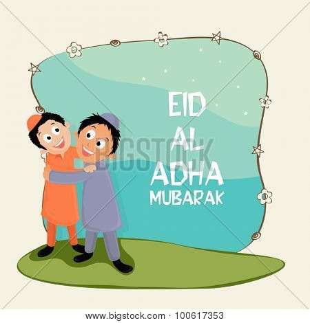 Cute happy islamic boys hugging and giving wishing to each other on occasion of muslim community festival of sacrifice, Eid-Al-Adha Mubarak.