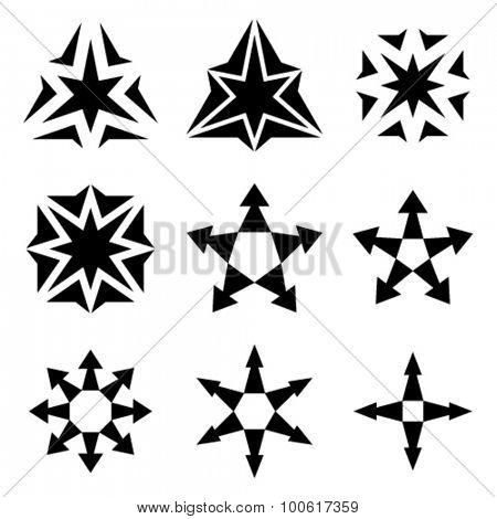 vector black star arrow symbols