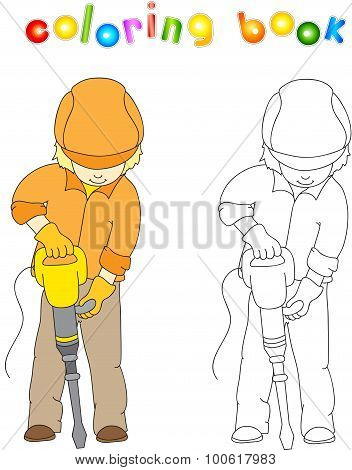 Worker In Overalls And Helmet With With Jackhammer.