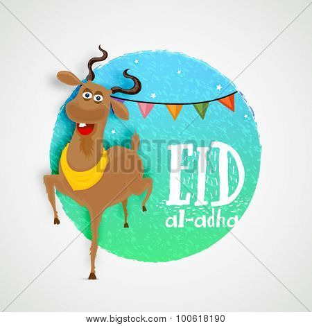 Creative sticky design with goat on stylish background for Islamic Festival of Sacrifice, Eid-Al-Adha celebration.