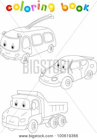 Funny Cartoon Trolleybus, Car And Lorry.