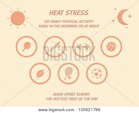 Heat stress prevention with sport icons
