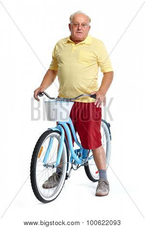 Elderly man with bicycle. Health and fitness concept.