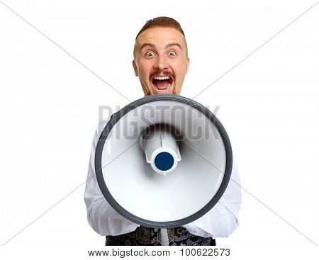 Young man with megaphone isolated white background