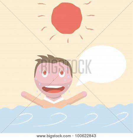Man has heat stress under sun.