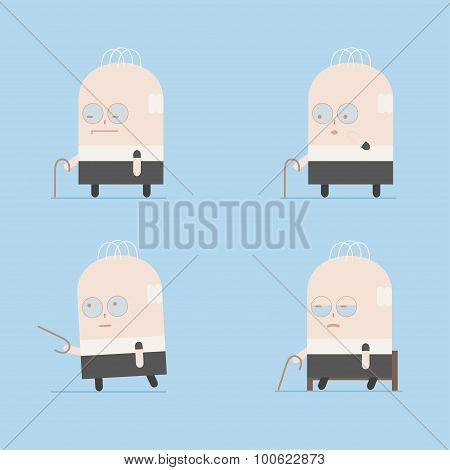 Cartoon illustration of elderly senior man