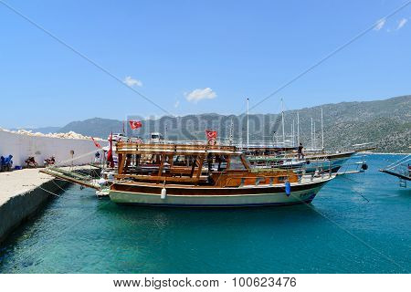 Kemer, Turkey - 06.20.2015. Pleasure boats for tourists near the pier