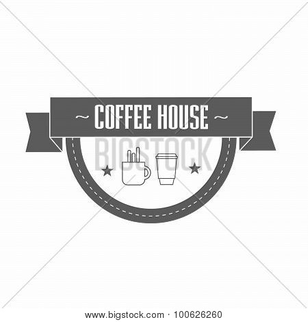 gray coffee logo template