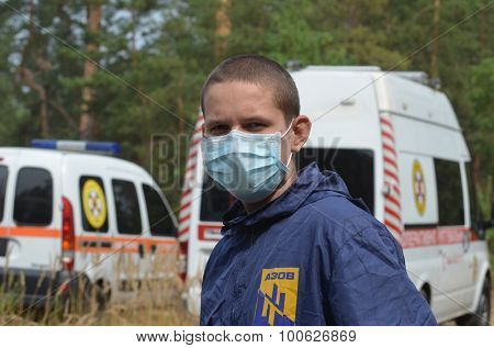 KIEV, UKRAINE - September 03, 2015: Ukrainian rescue and fireman team in the forest. A lot of fire forest near Kiev at  beginning of September.