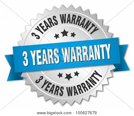 3 Years Warranty 3D Silver Badge With Blue Ribbon