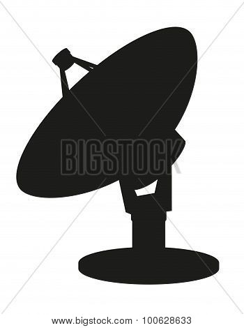 Satellite Dish Black Silhouette Vector Illustration