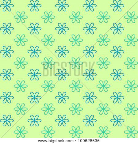 Seamless pattern. Fond green and blue colors. Endless texture can be used for printing onto fabric a