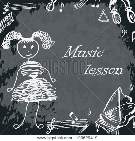 Vector Illustration Of Girl On School Board. Freehand Drawing. Music Lesson