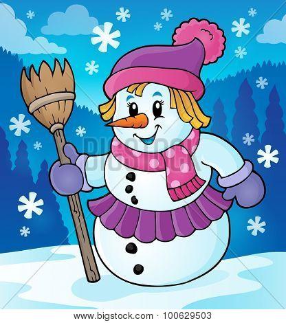 Winter snow woman topic image 2 - eps10 vector illustration.