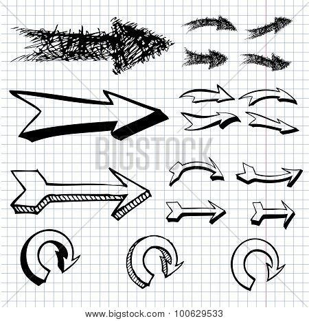 Vector Hand Drawn Arrows Icons Set