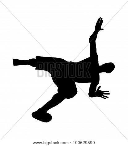 Man Silhouette In Falling Pose