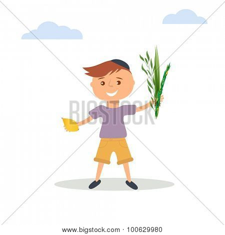 Vector illustration of  little boy in Jewish  skullcap. Boy holding in hands  four species - palm, willow, myrtle , lemon - symbols of Jewish holiday Sukkot. Autumn holiday of Sukkot  illustration.