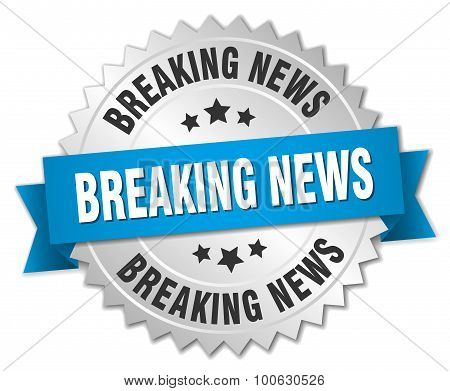 Breaking News 3D Silver Badge With Blue Ribbon